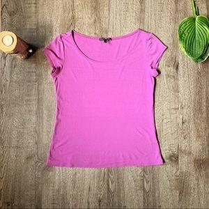 Eileen Fisher purple silk shirt sleeve shirt